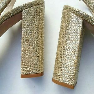 kate spade Shoes - Kate Spade Gold Glitter Bow Open Toe Block Heels